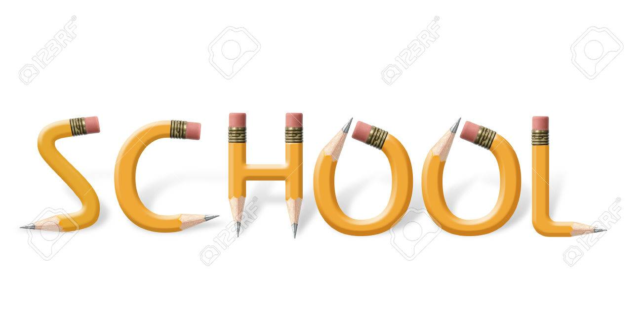 Yellow Wooden Pencils Bend Spell School Word Over White Background ...