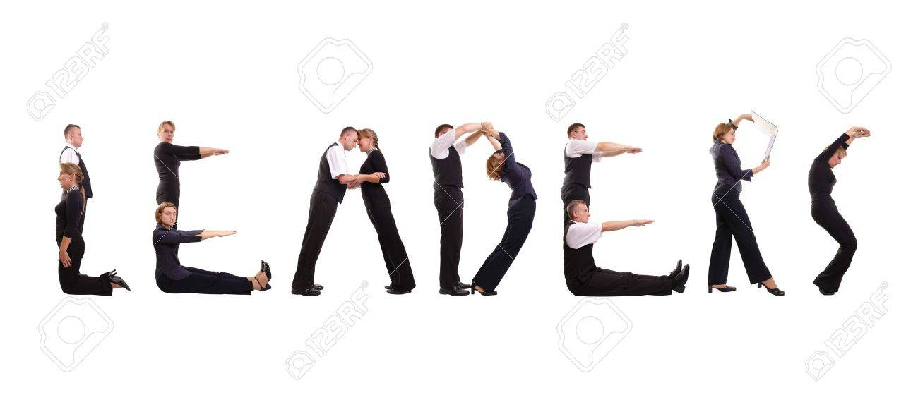 Group of young business people standing over white to form Leaders word Stock Photo - 1827441