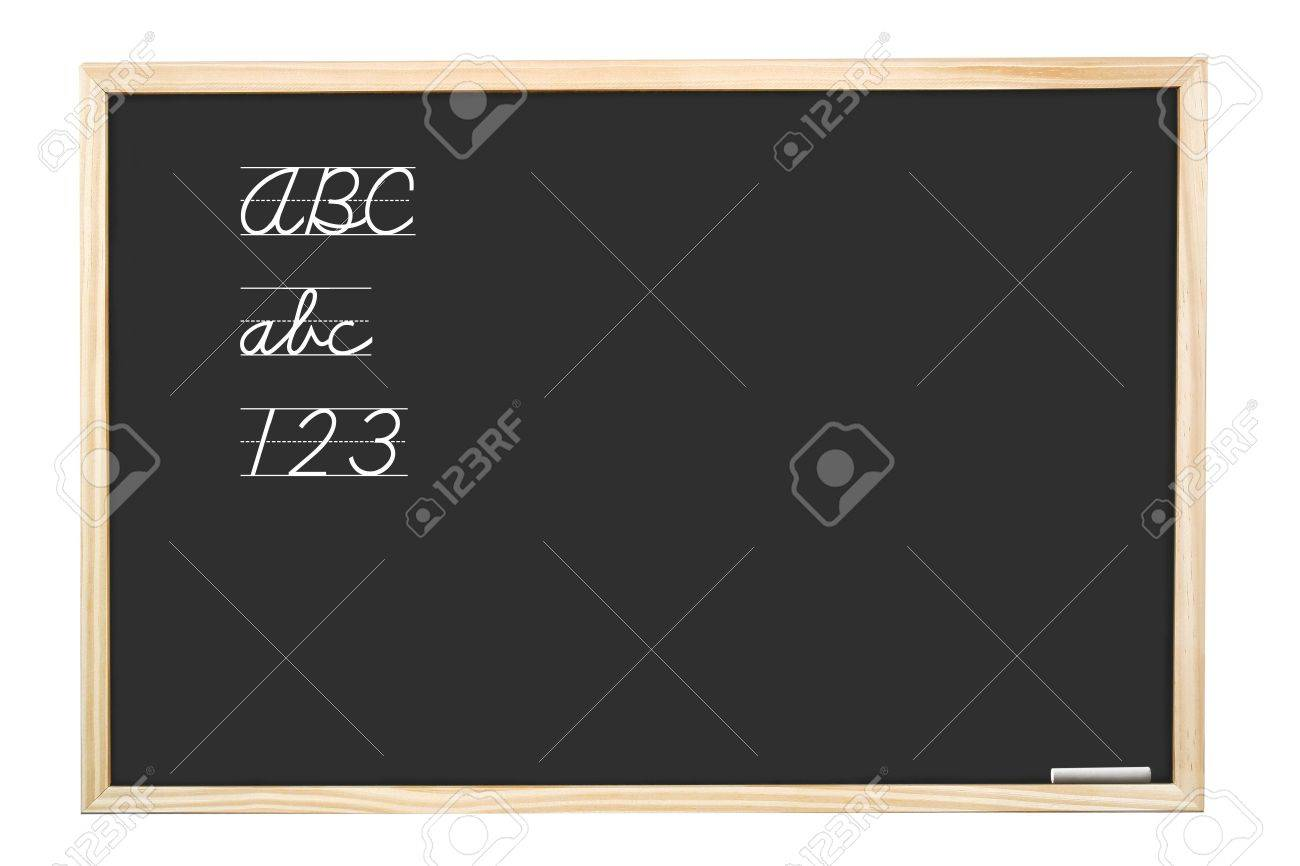 School blackboard with handwritten abc letters and 123  digits - isolated on white Stock Photo - 2615814