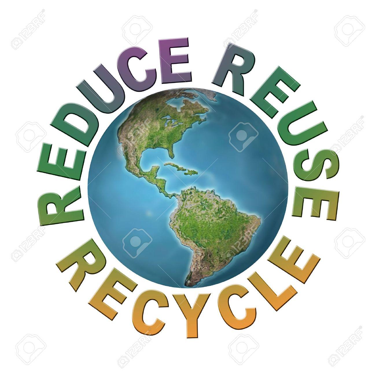 Mundo Planeta Rodeado Por Tres Frases Ecológicas Reducir Reutilizar Reciclar Concepto Planeta Limpio