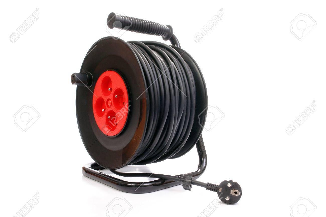 Elektrische Kabel Verlängerung Rollen Isoliert Auf Weißem ...