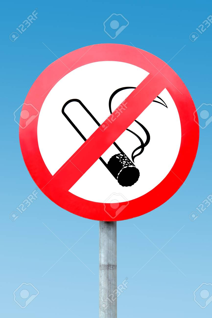 No smoking signpost over blue sky Stock Photo - 3256547