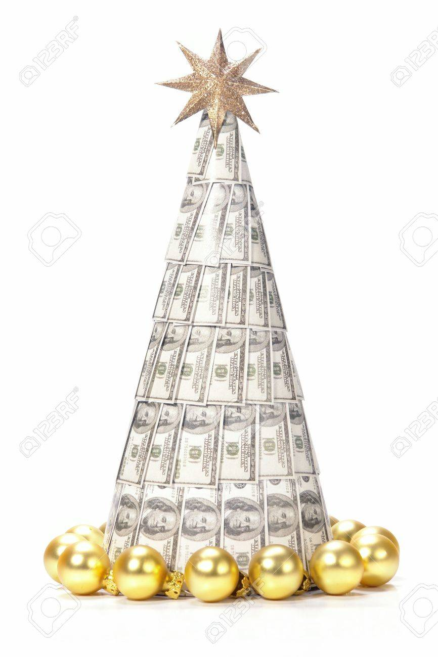 One Hundred Dollar Christmas Tree Made From Paper Cone Over White Stock Photo Picture And Royalty Free Image Image 3897769