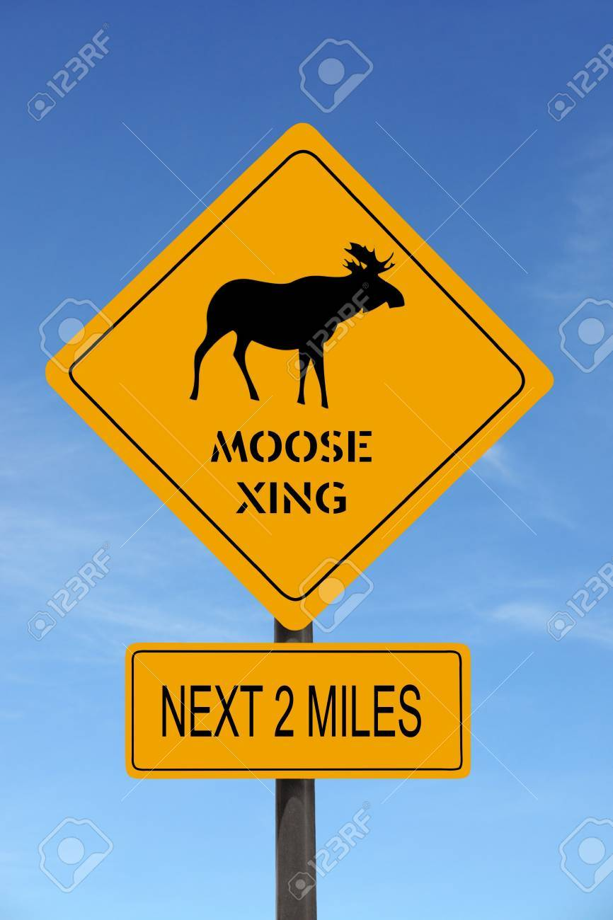 Moose Xing warning roadsign over blue sky Stock Photo - 4007878