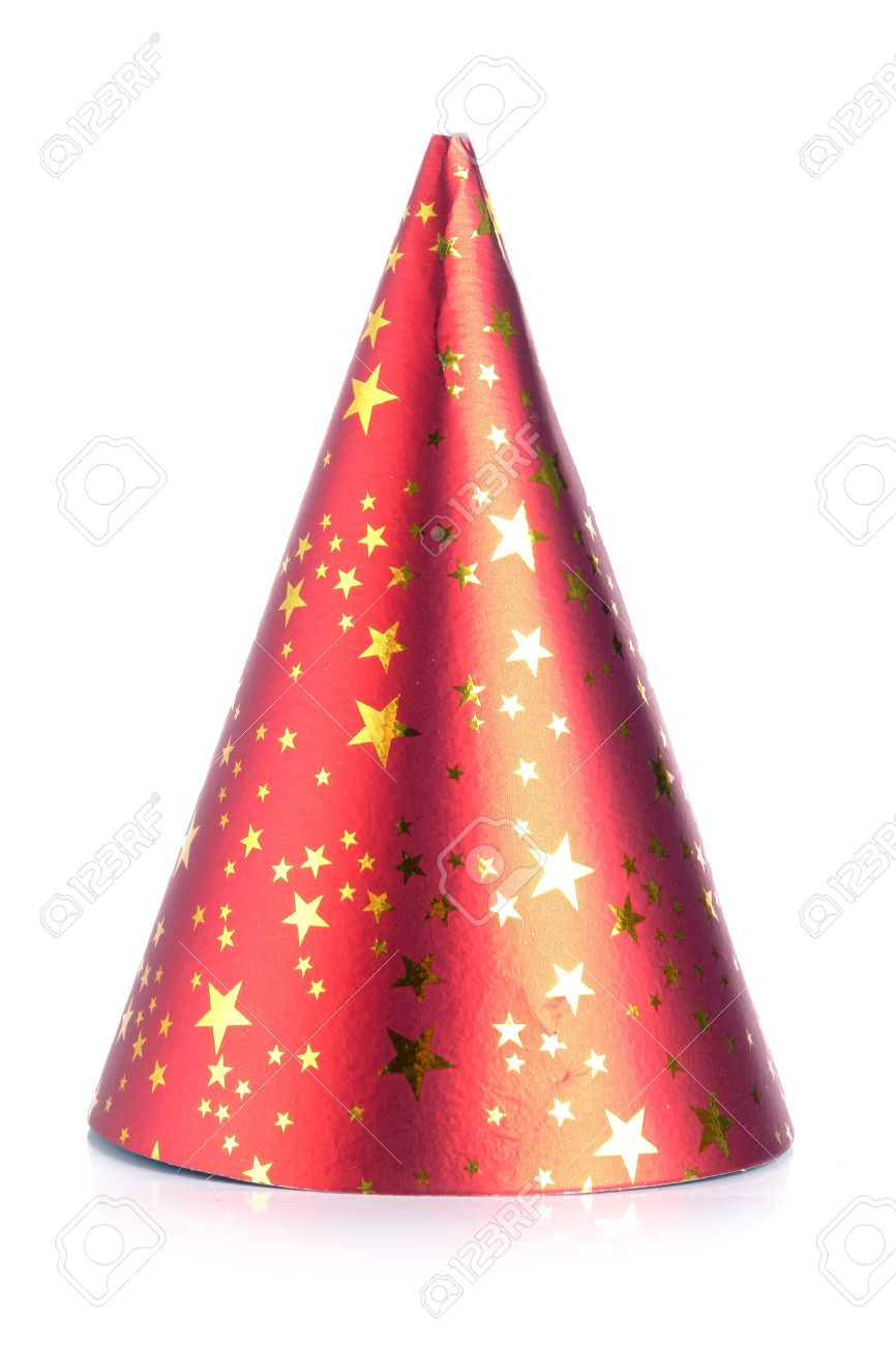 Red paper party cone hat over white background Stock Photo - 4047255