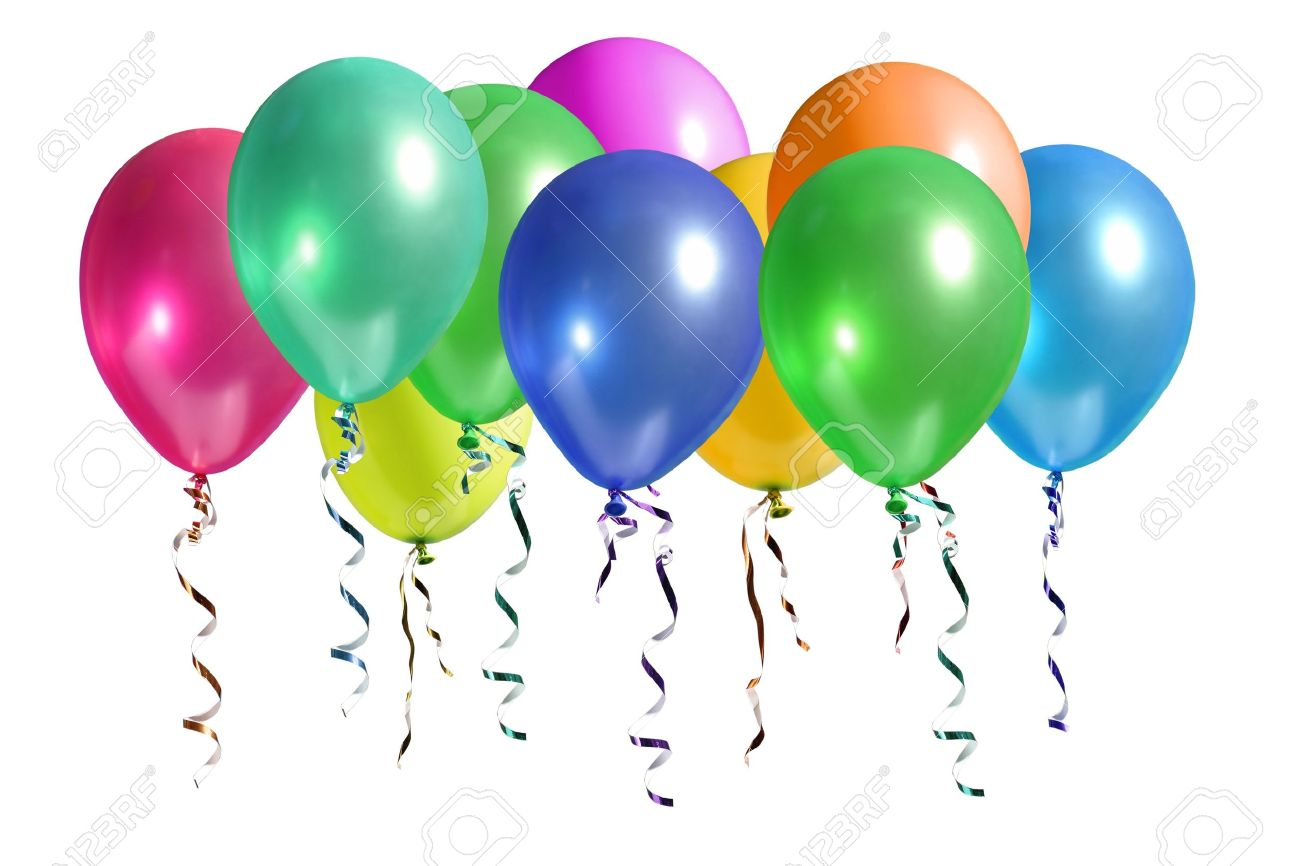 Bunch of colorful balloons rising up in the air isolated on white Stock Photo - 4094493