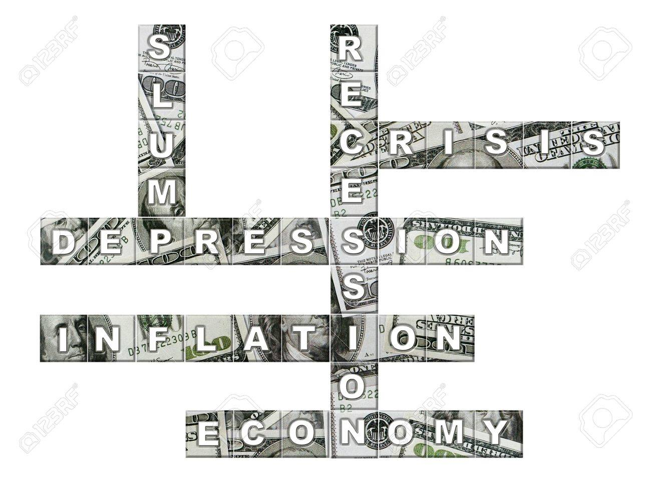 Crossword puzzle made up from six economic terms with superimposed one hundred dollar bill backgroun Stock Photo  Crossword Puzzle Made Up From Six Economic Terms With Superimposed One Hundred Dollar Bill Backgroun Stock Photo Economic Terms