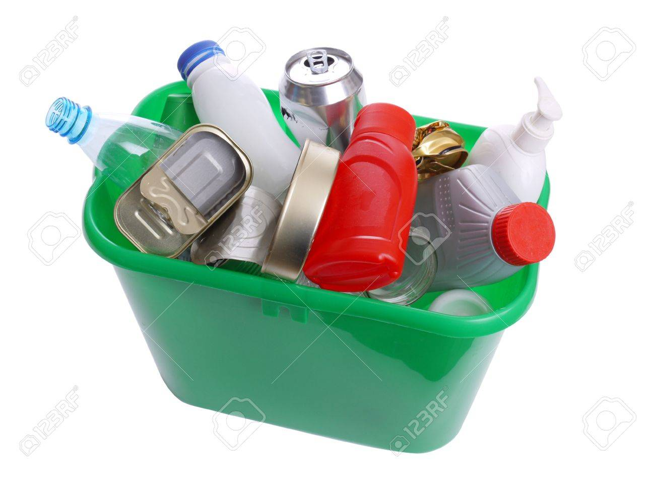 Green plastic trash bin filled with assorted domestic garbage - over white background Stock Photo - 4252558