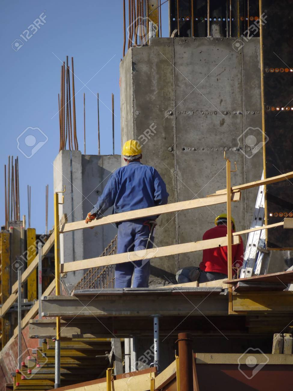 Construction workers working on construction platform with formwork Stock Photo - 4771529
