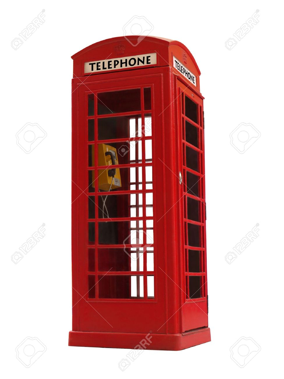 London style red public telephone booth isolated on white Stock Photo - 4835958