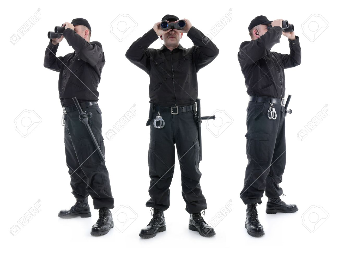 Three security guards wearing black uniform looking through binoculars, in three different directions, shot on white Stock Photo - 25987964