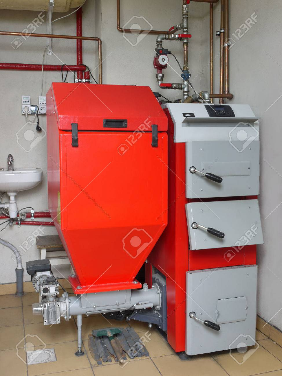 House Boiler Room With Coal-fired Central Heating Furnace System ...