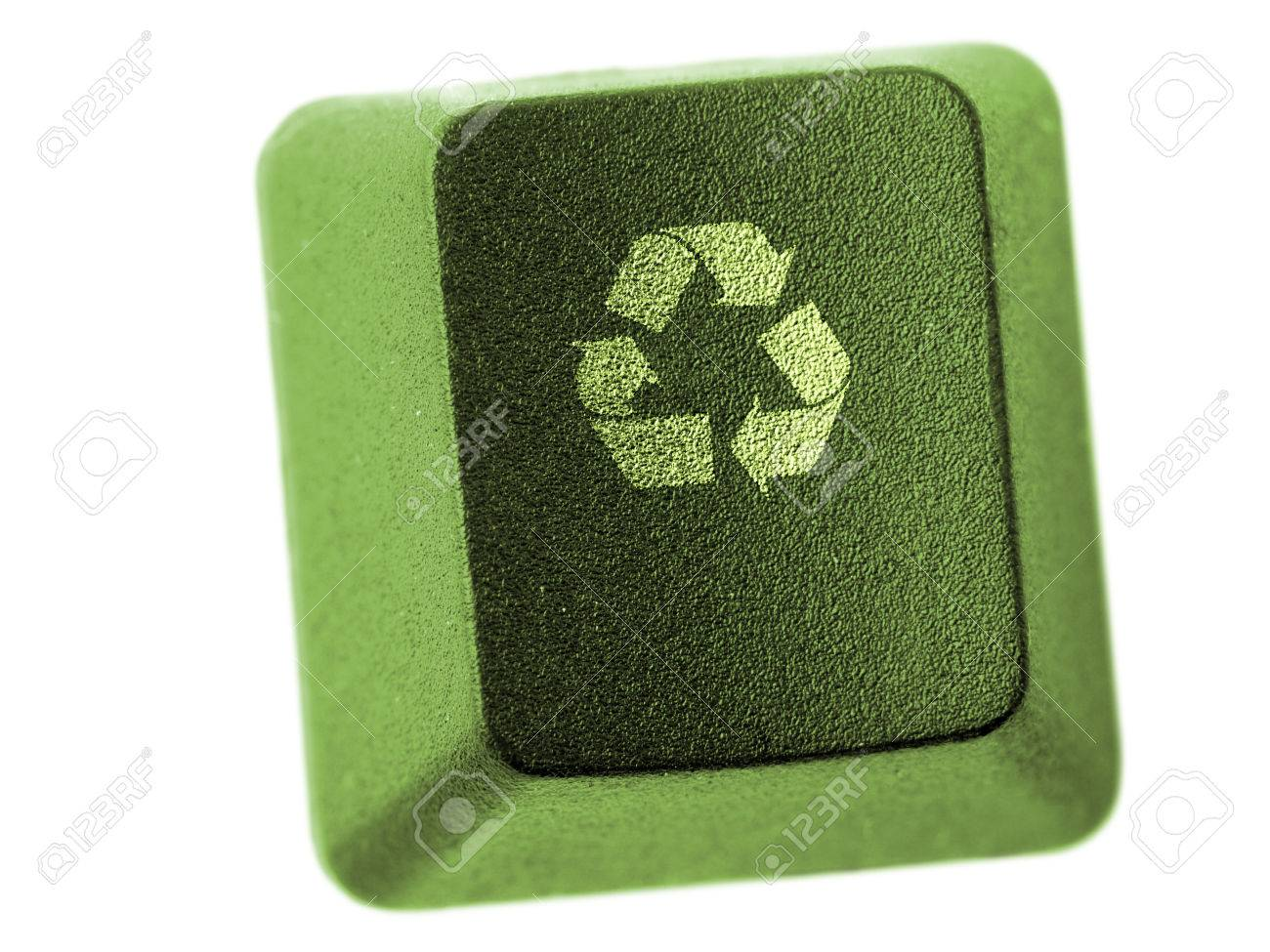 Green computer keyboard key with three arrow recycle symbol isolated green computer keyboard key with three arrow recycle symbol isolated on white stock photo biocorpaavc Images