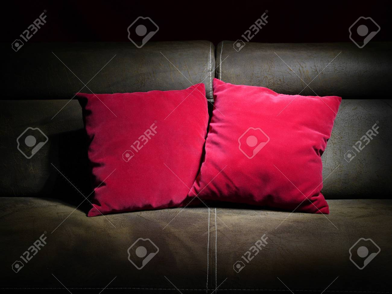 Phenomenal Two Red Pillows On Brown Leather Sofa Alphanode Cool Chair Designs And Ideas Alphanodeonline