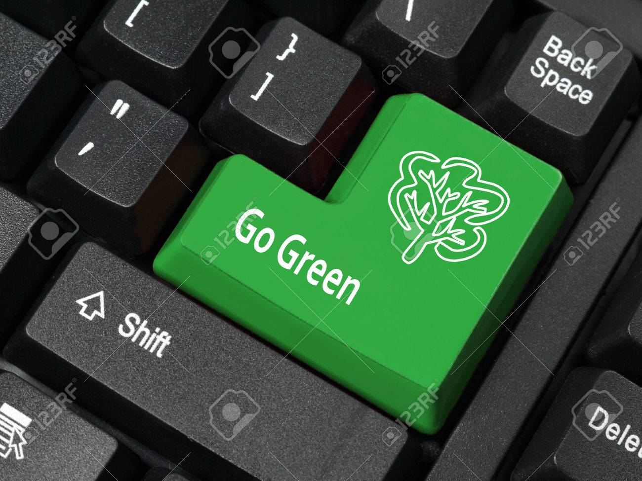 Closeup of computer keyboard key in green color with go green closeup of computer keyboard key in green color with go green phrase and tree symbol stock biocorpaavc