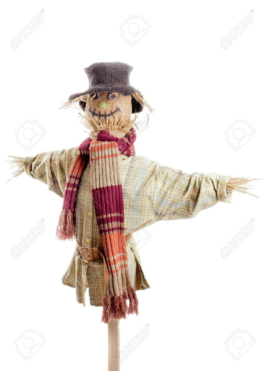 Scarecrow against the white background Stock Photo - 35024458