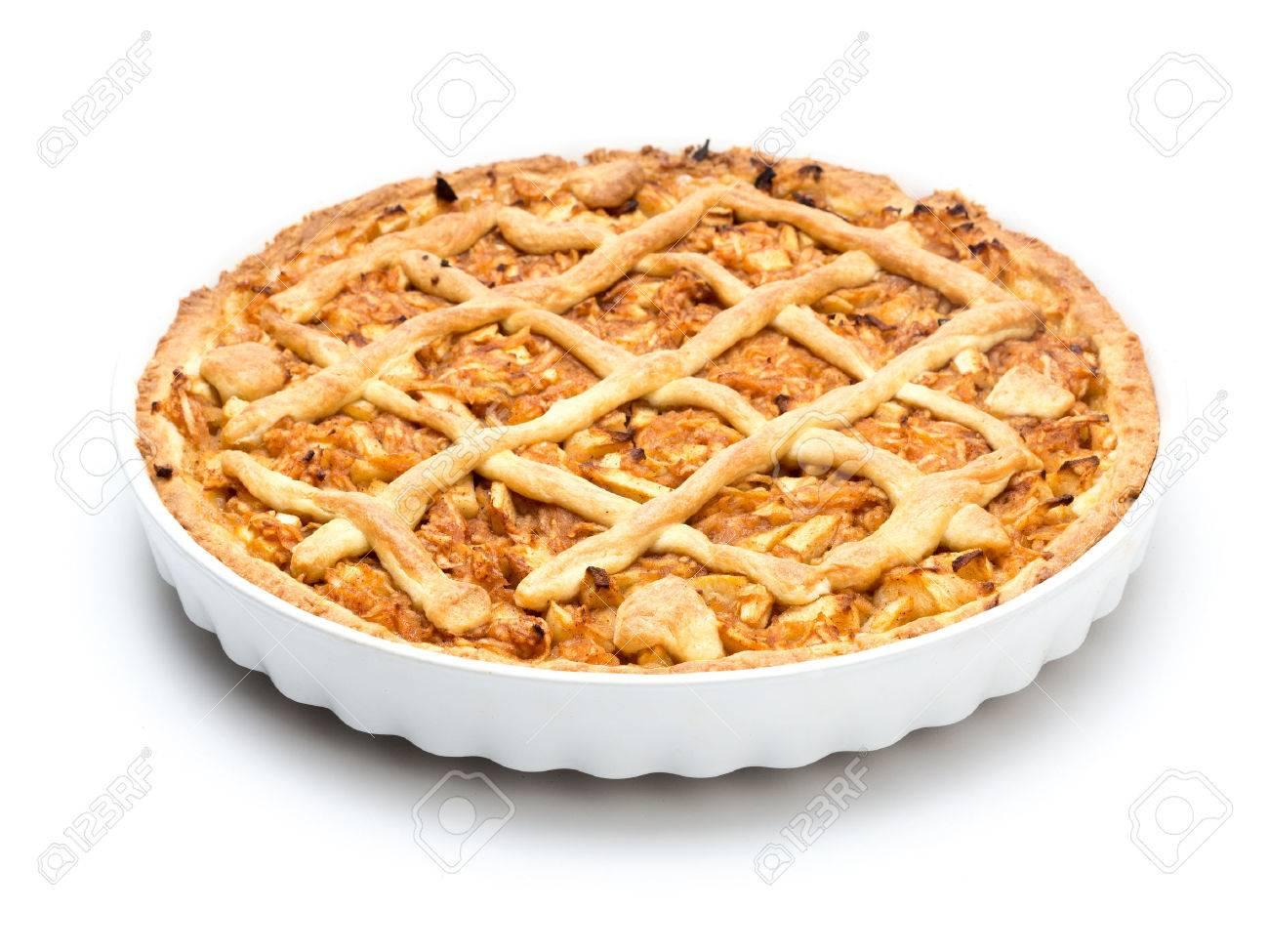Apple pie in white ceramic pan on white background Stock Photo - 44982505