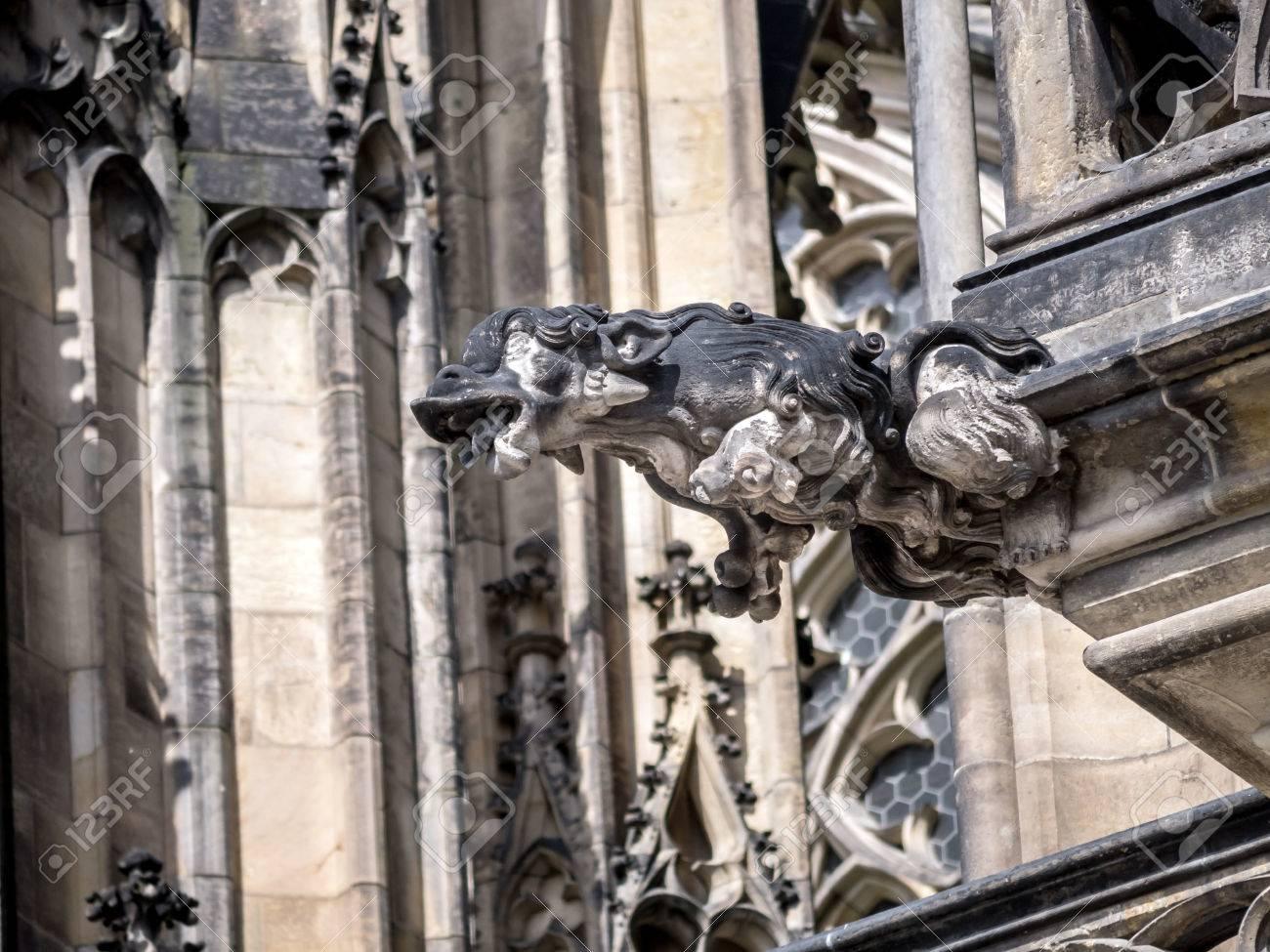 One Of Many Stone Demon Gargoyles As A Part Metropolitan Cathedral Saints Vitus