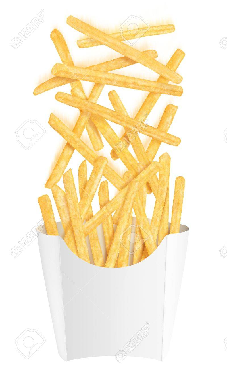 Golden french fries falling into white packaging, on white background Stock Photo - 12779973