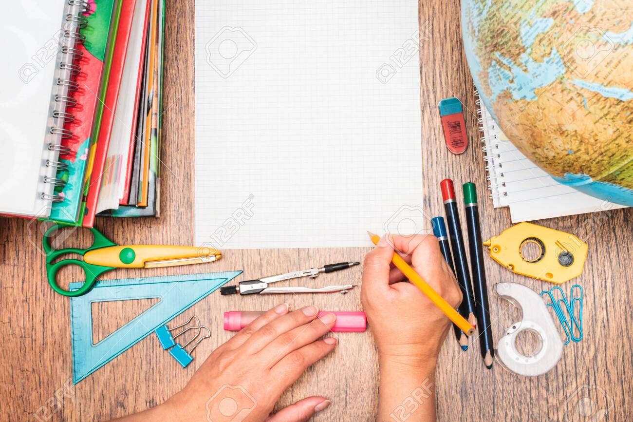 Top View Of School Accessories On A Desk Stock Photo, Picture And ...