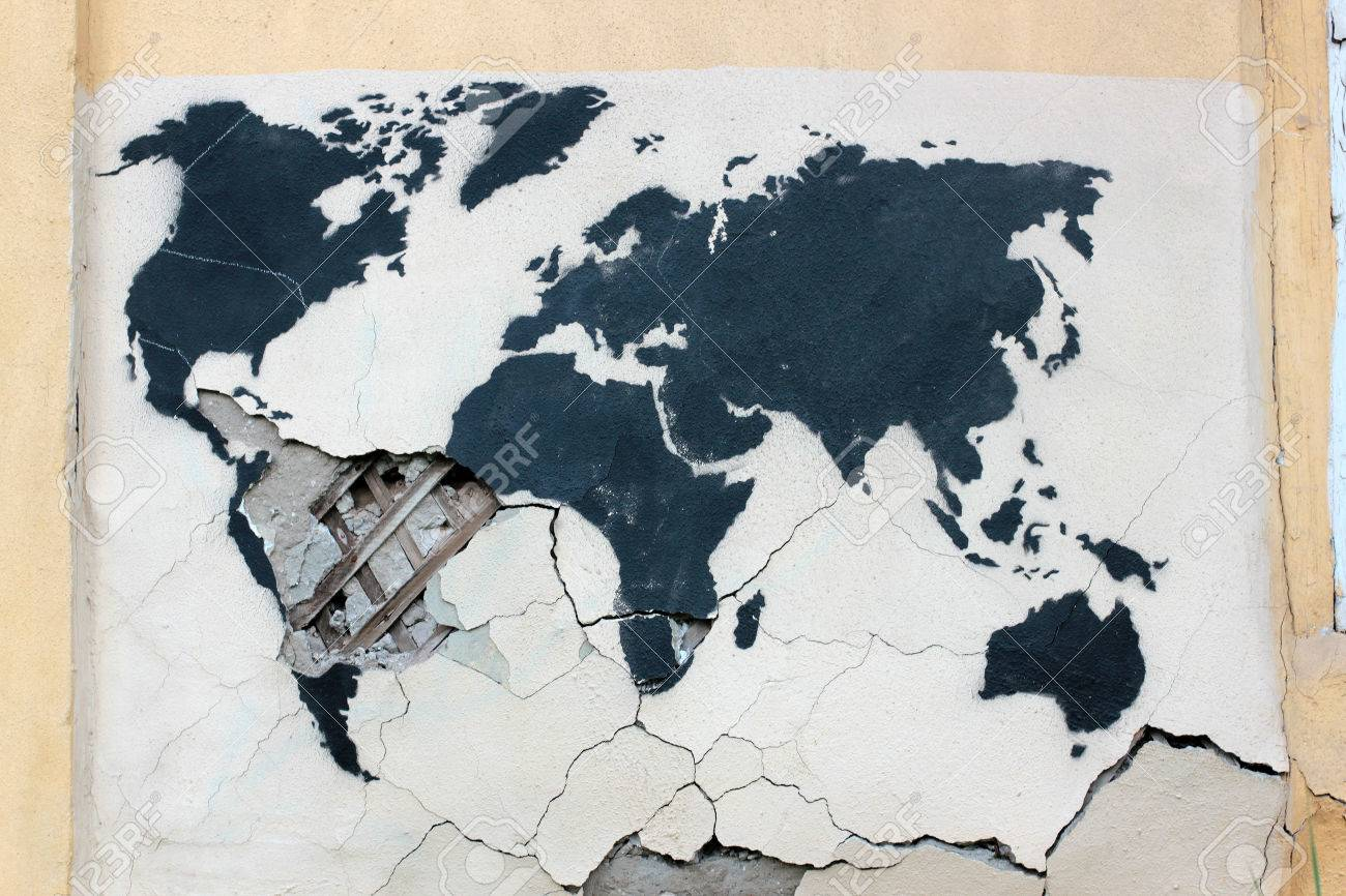 Graffiti world map on the old ruined wall stock photo picture and graffiti world map on the old ruined wall stock photo 65039196 gumiabroncs Image collections