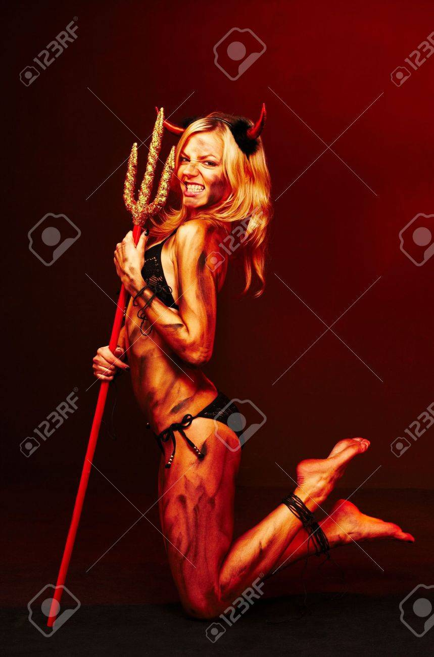 Beautiful devil with trident, Halloween Stock Photo - 5712507