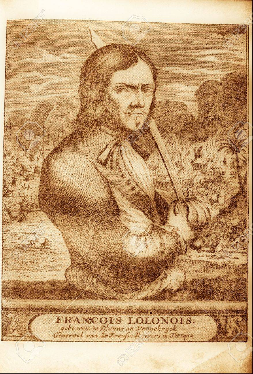 picture of pirate Francois Lolonois from the book of 1678 Stock Photo -  3481334
