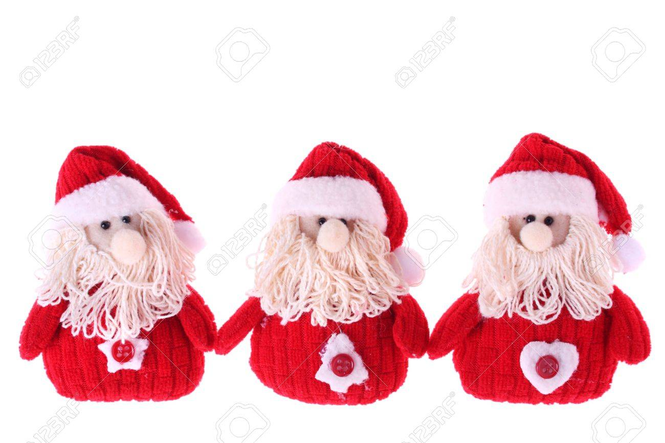 Three Santa Clauses isolated on white background Stock Photo - 6000306