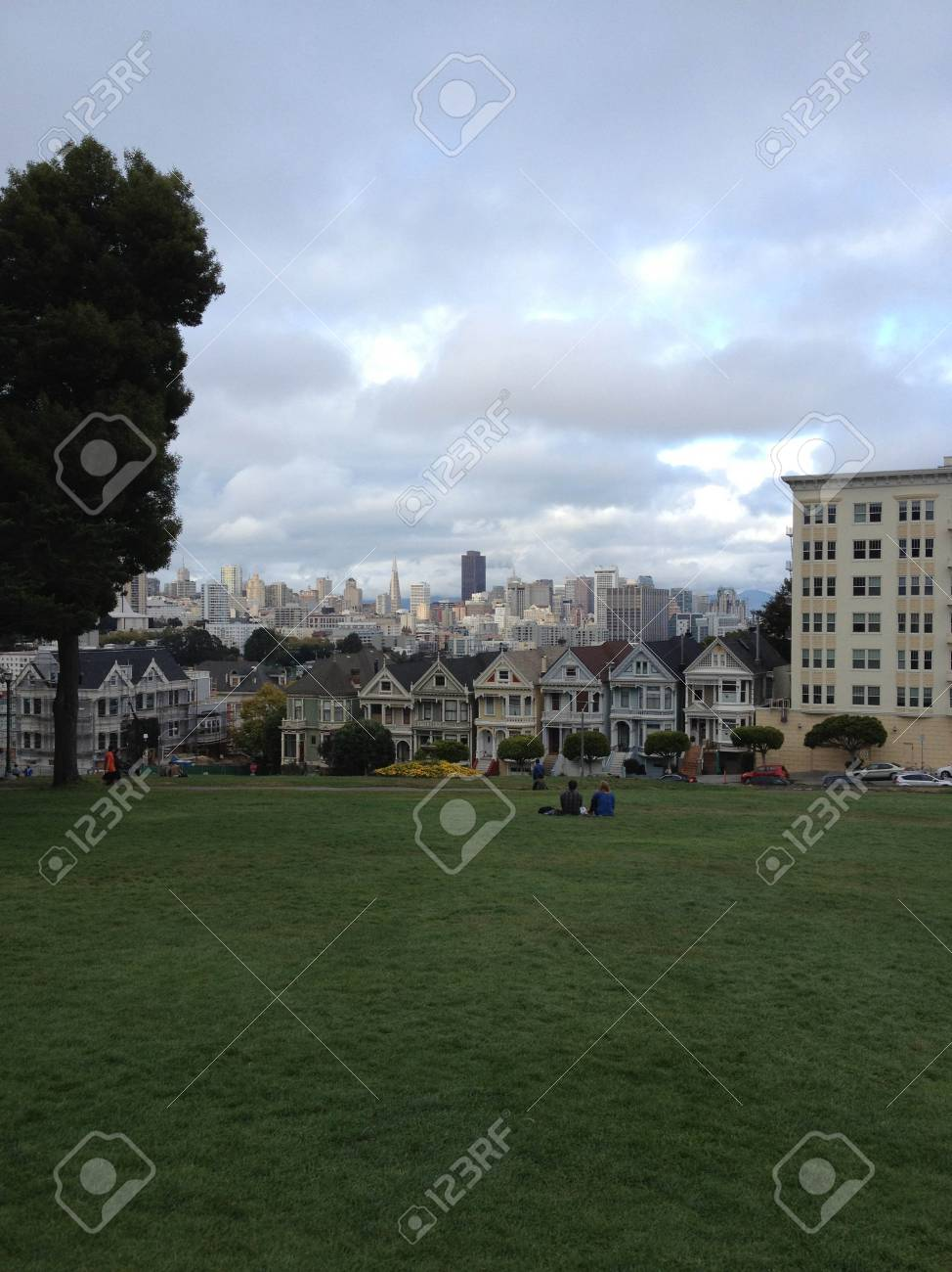 San Francisco Painted Lady Houses From Full House Intro Stock Photo