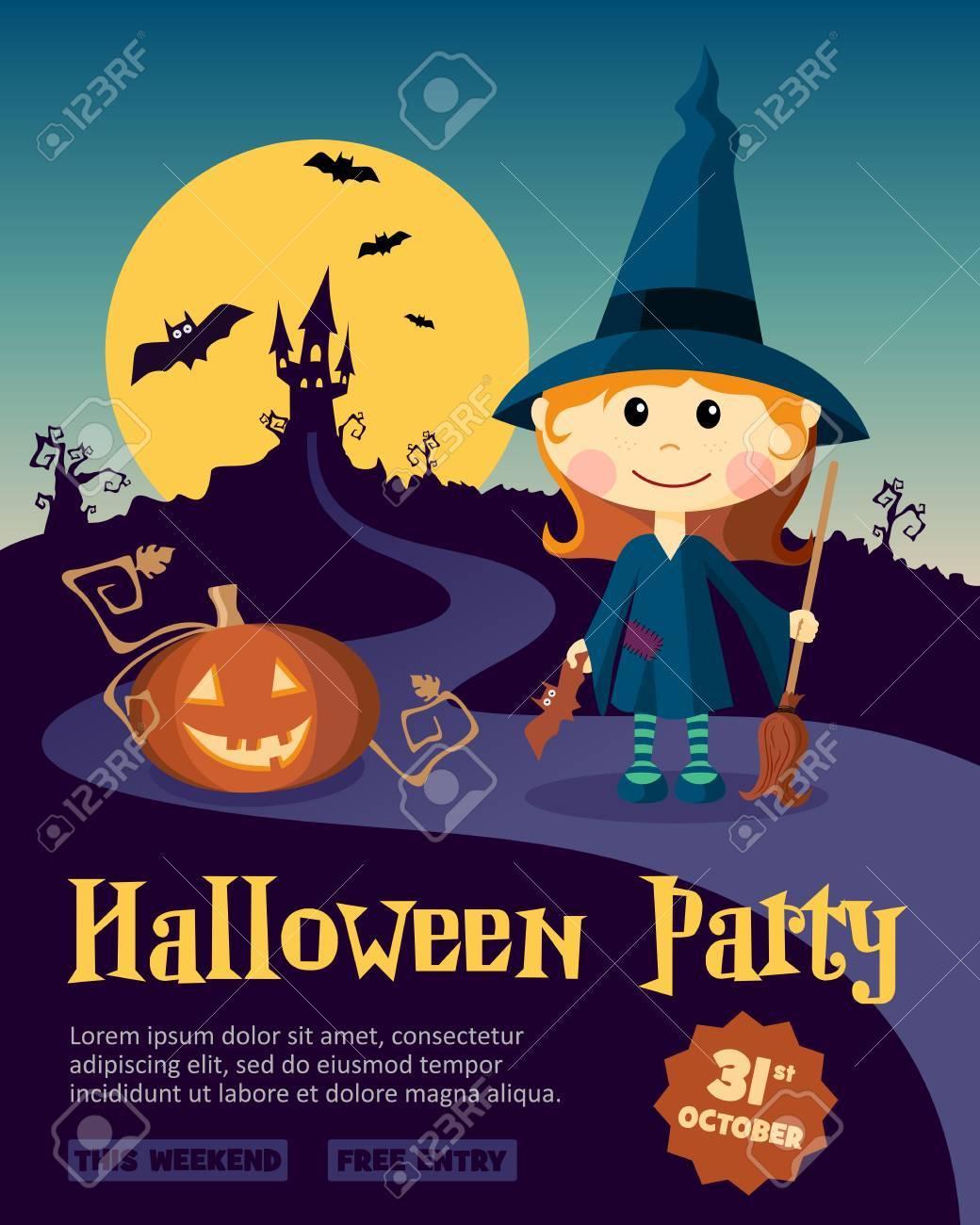 Halloween Party Design Vorlage Mit Hexe Madchen Und Kurbis