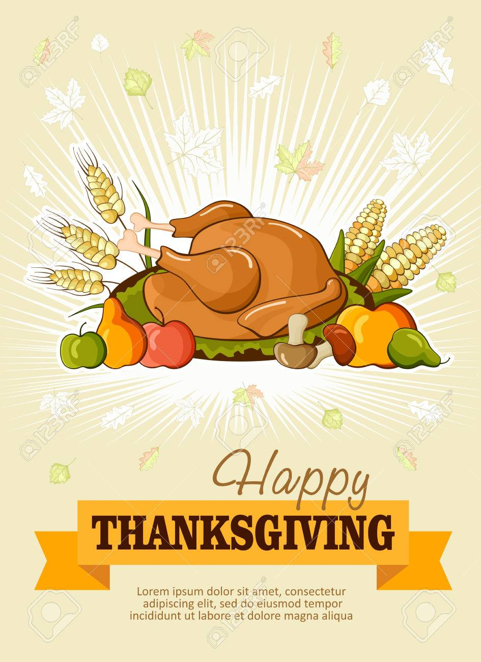 Happy Thanksgiving Day Celebration Flyer, Banner Or Poster With ...