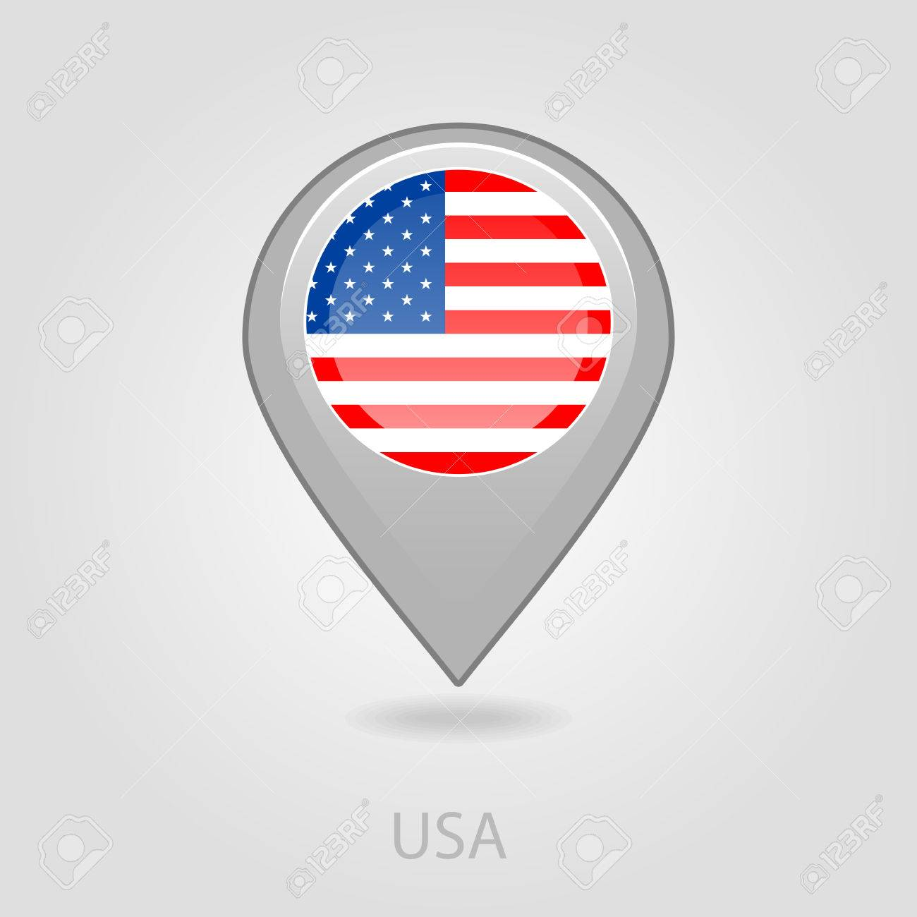 United States Of America Flag Pin Map Icon Eps 10 Royalty Free ...