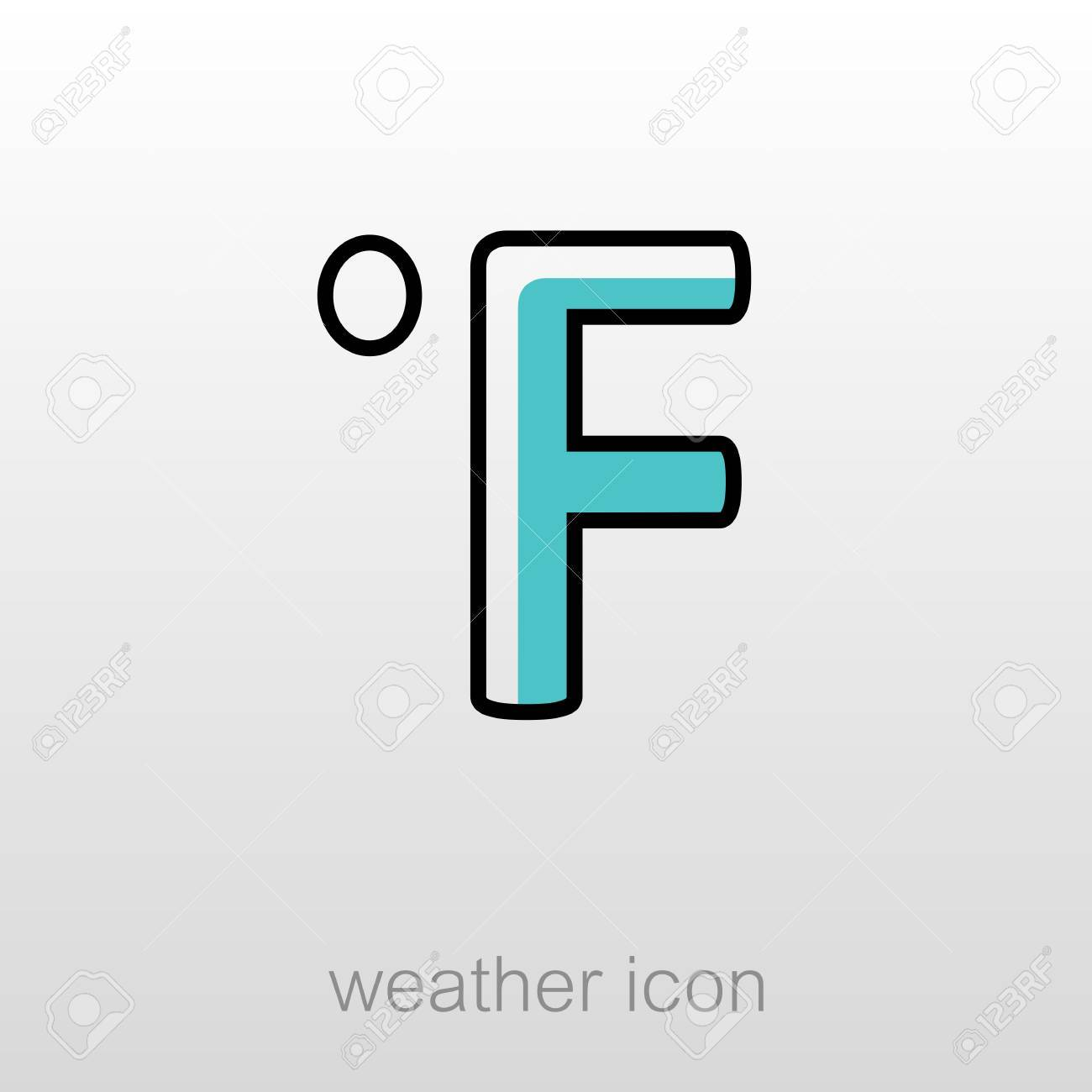 Degrees Fahrenheit Outline Icon Meteorology Weather Vector