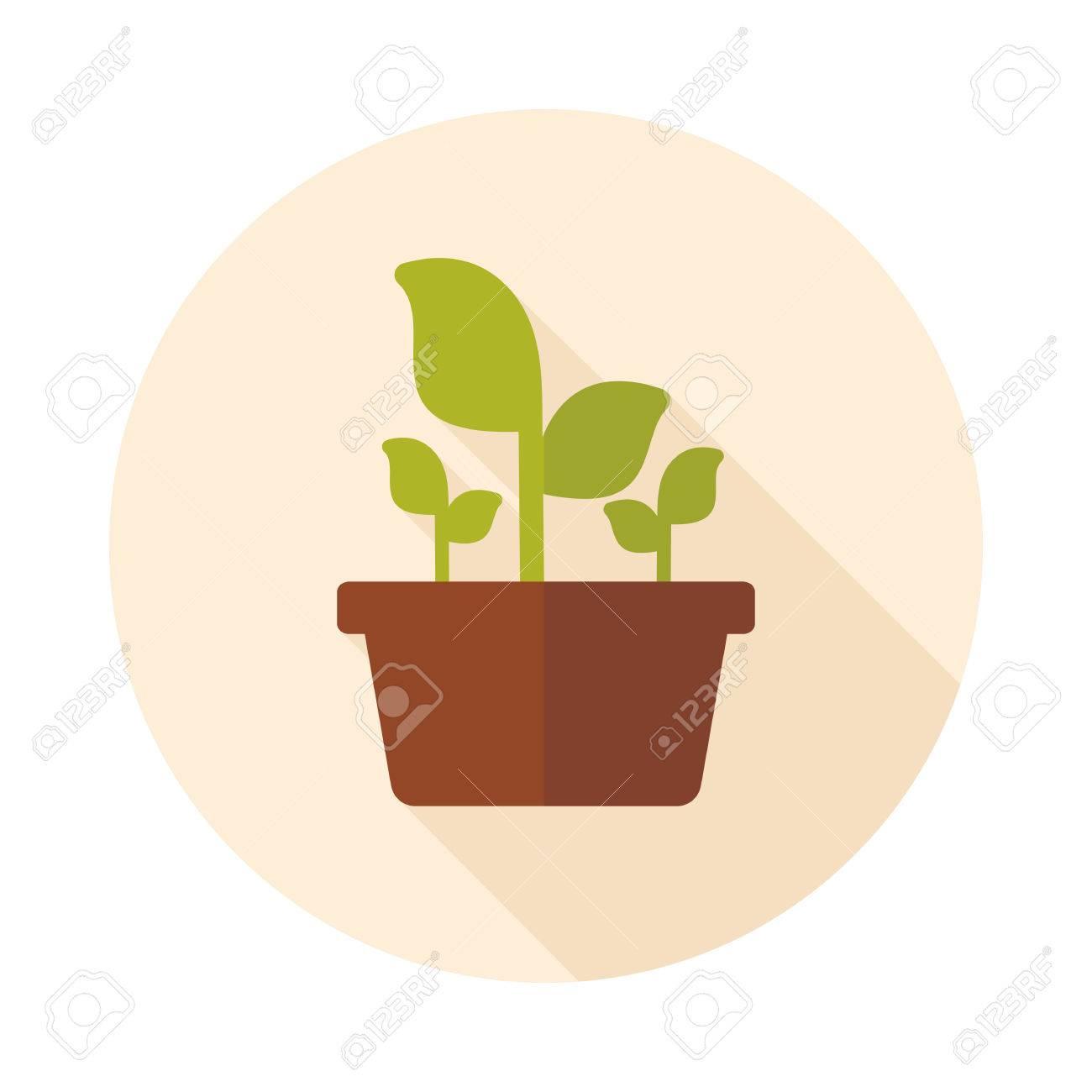Plante En Pot Icone Plat Legende Isole Jardin Pot De Fleurs