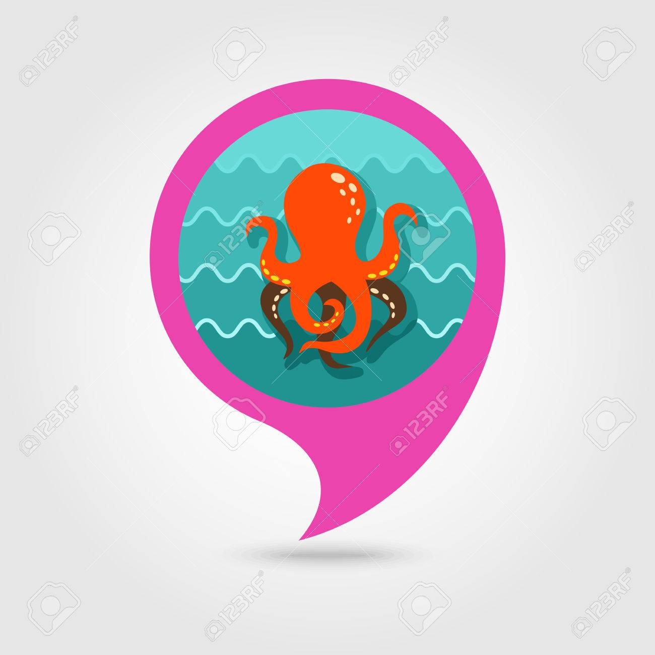 Octopus Vector Pin Map Icon Map Pointer Summer Map Markers Stock Vector