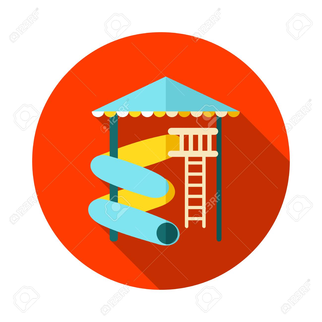 Water Park Summer Vacation. Slide Beach Vector Icon. Summer ...
