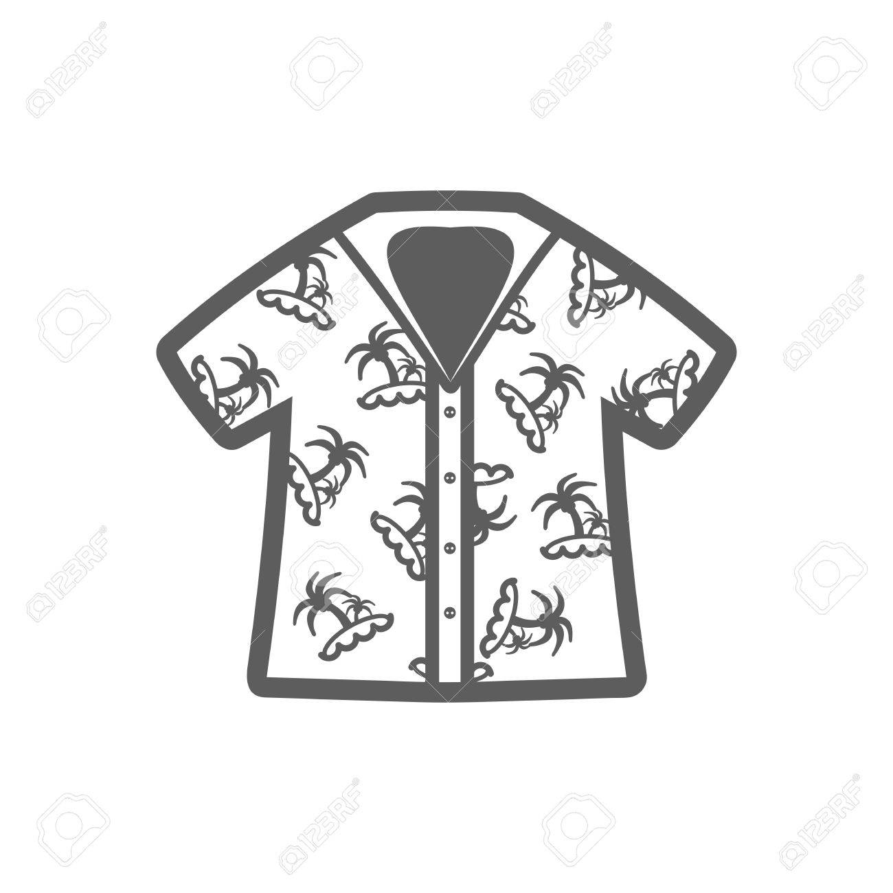 42ae2a11e Hawaiian Shirt with palm tree outline vector icon. Beach. Summer.  Summertime. Holiday