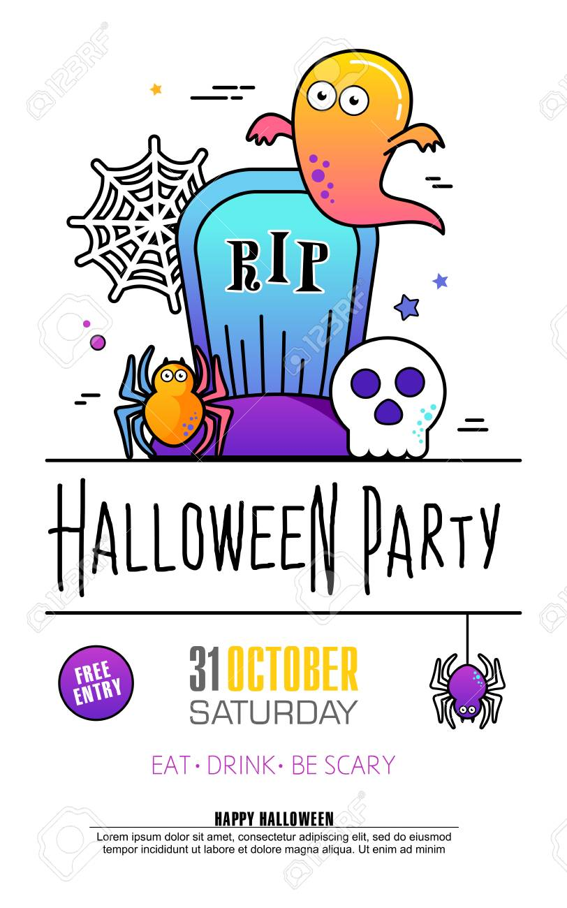 Halloween party poster on white background trick or treat concept halloween party poster on white background trick or treat concept creative design for invitation stopboris Image collections