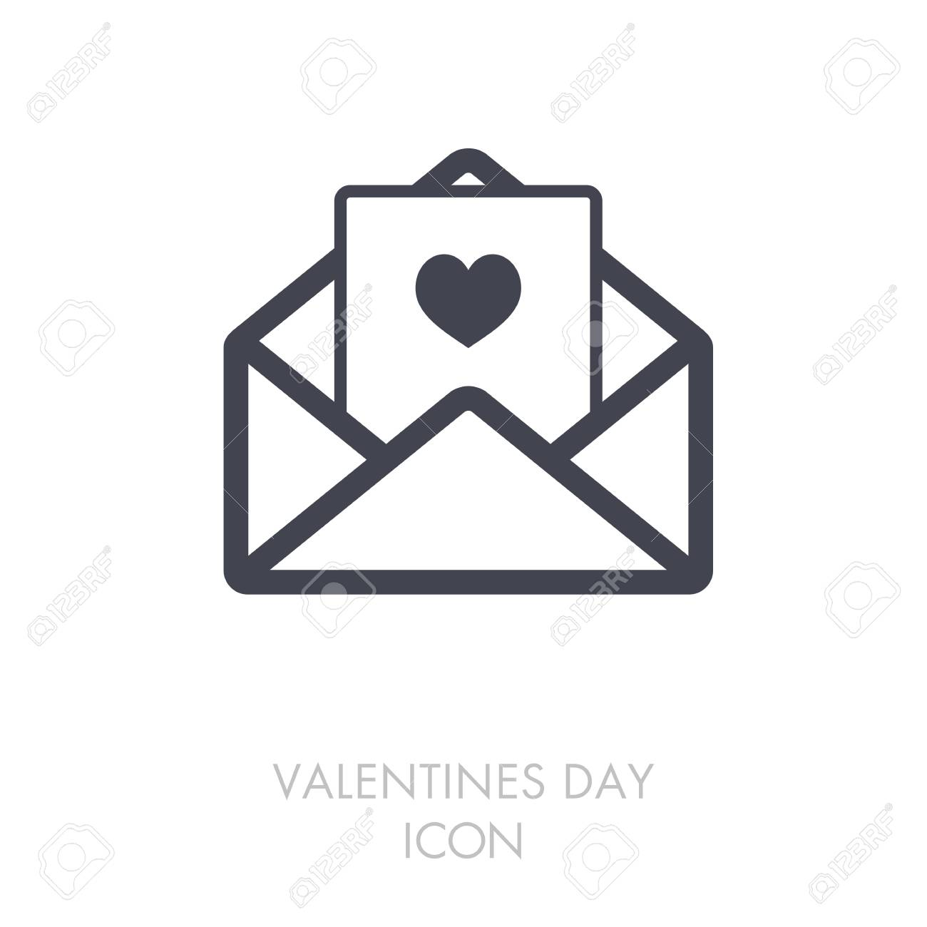 Happy Valentine Day Card In Envelope Icon Heart Sign Symbol
