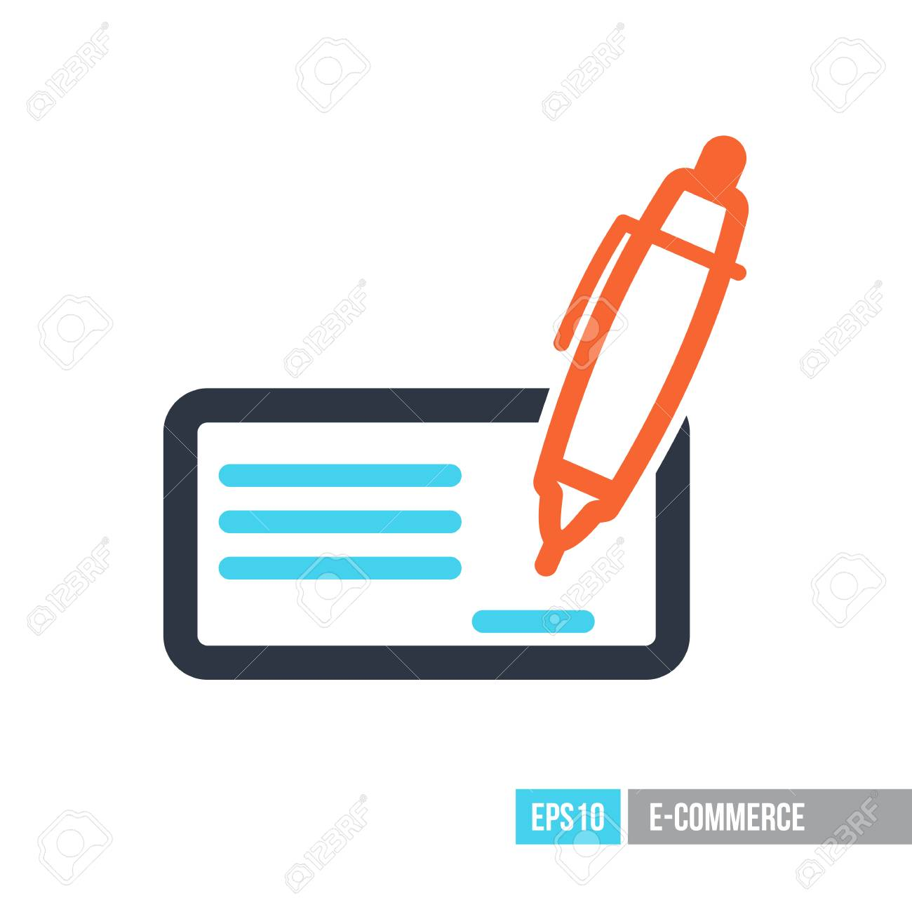 Blank Bank Check With Pen And Signature Icon E Commerce Sign