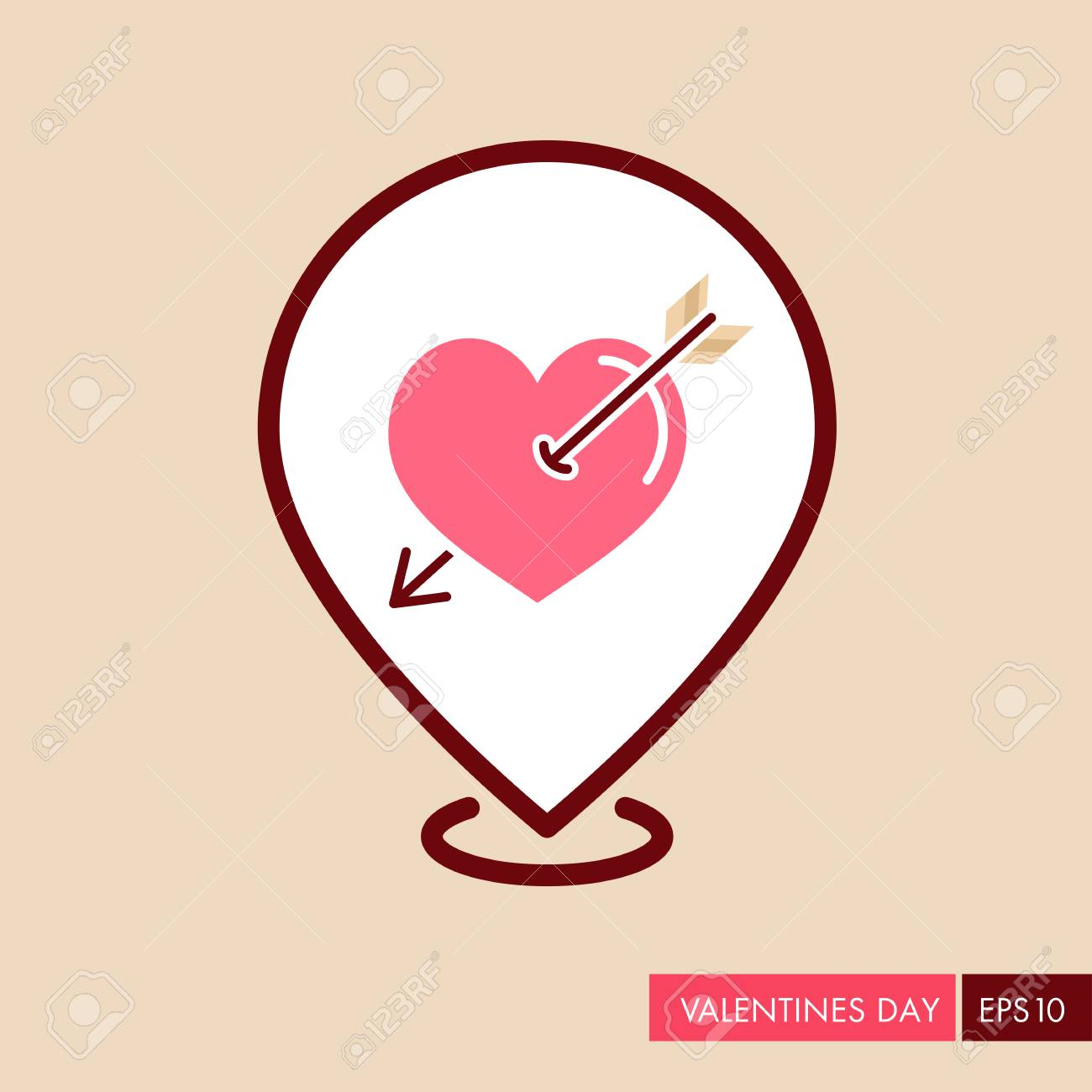 Arrow Heart Pin Map Icon Love Sign Valentines Day Symbol Map