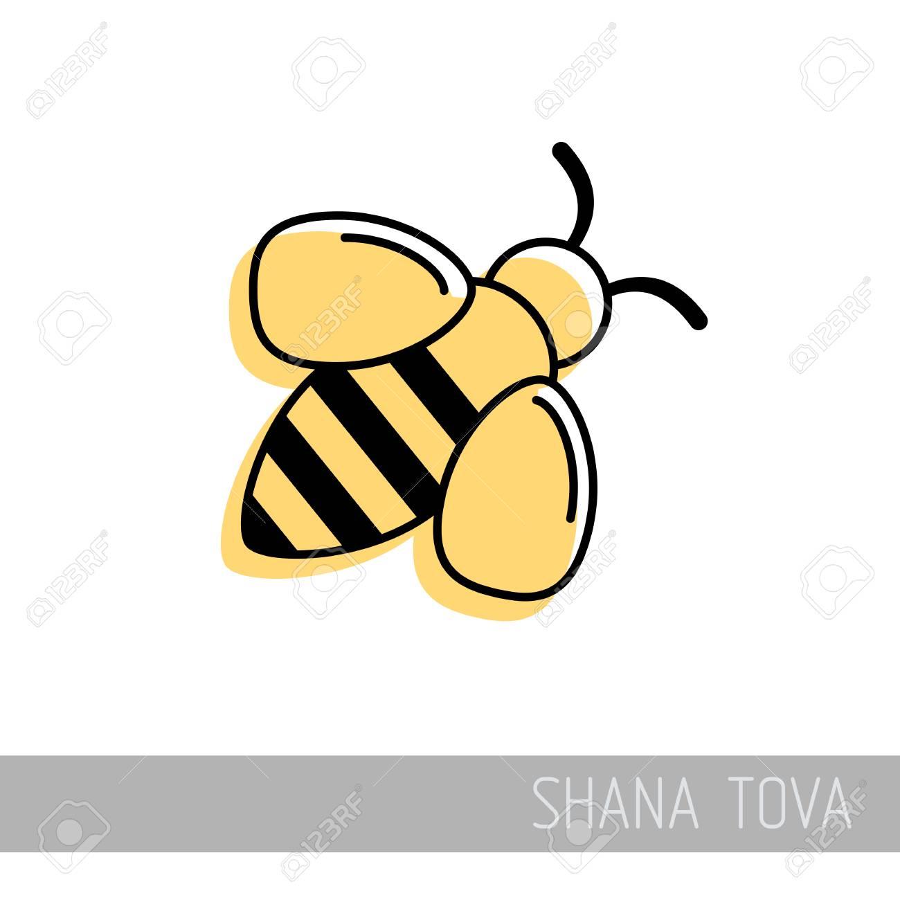 bee rosh hashanah icon shana tova happy and sweet new year in hebrew