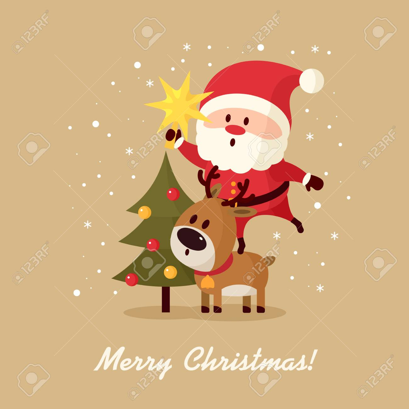 Santa Claus With Bag Of Gifts And Christmas Tree. Merry Christmas ...