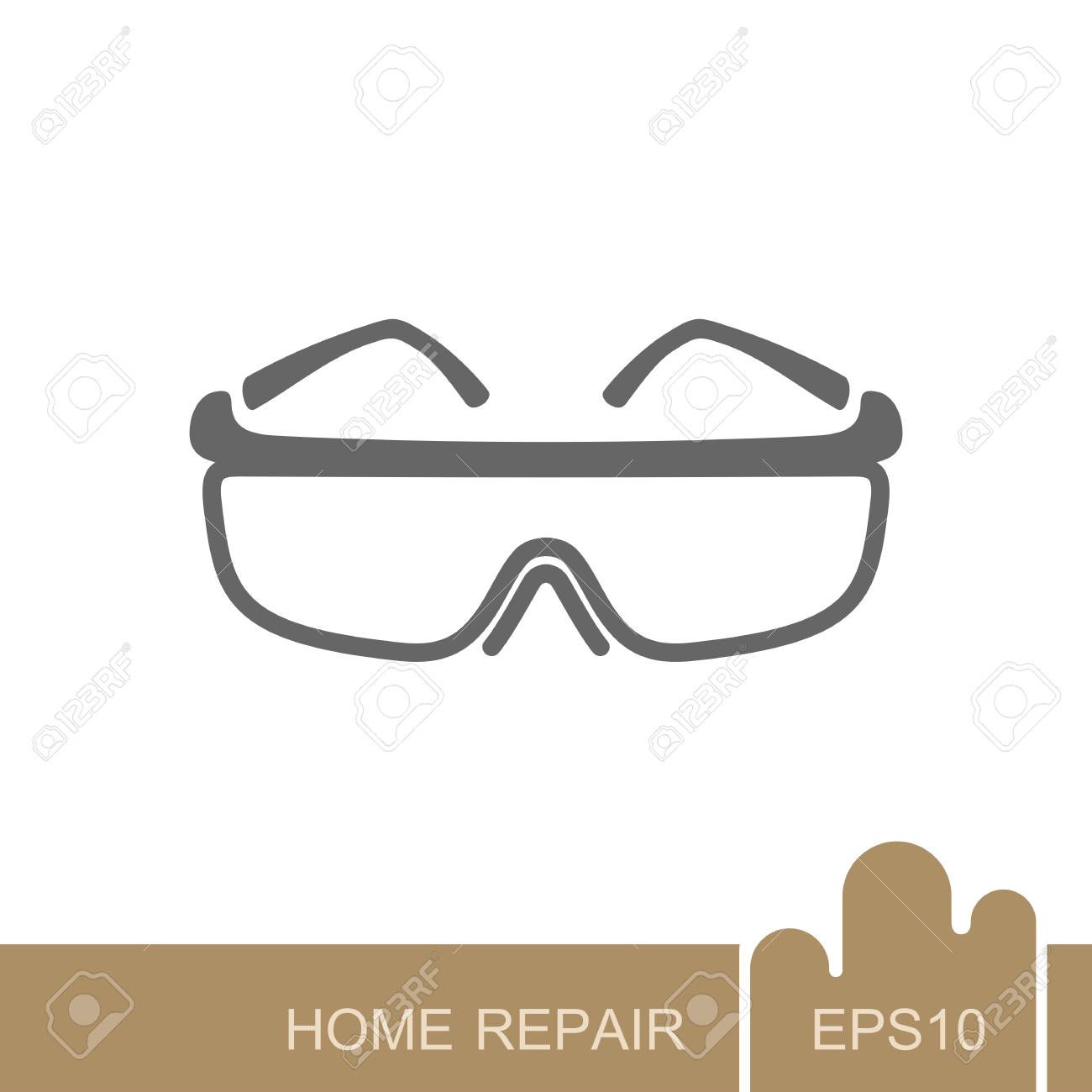 Safety goggles icon. Construction, repair and building vector design and illustration - 118430764