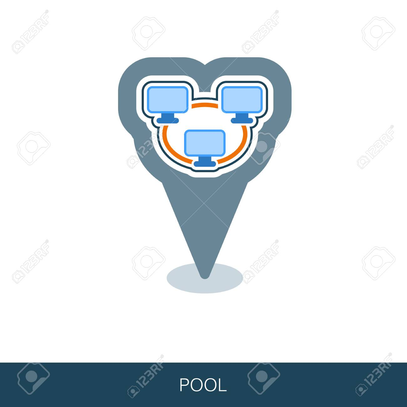 Bitcoin mining pool pin map icon with peer-to-peer computer network