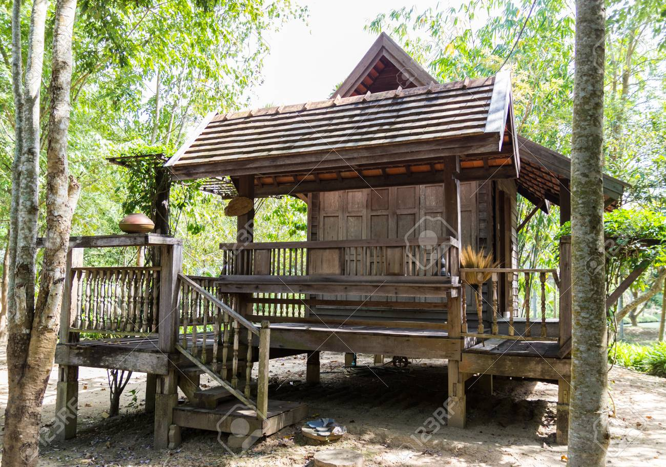 The Design Of Thailand Traditional Vintage Wooden House Stock Photo