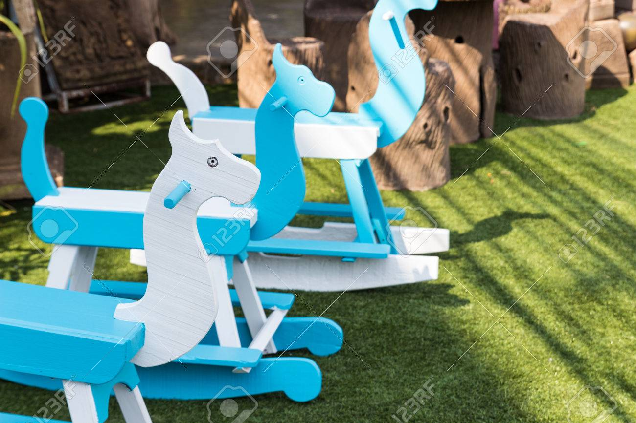 Blue And White Painted Rocking Horse In The Garden Stock Photo Picture And Royalty Free Image Image 39118722