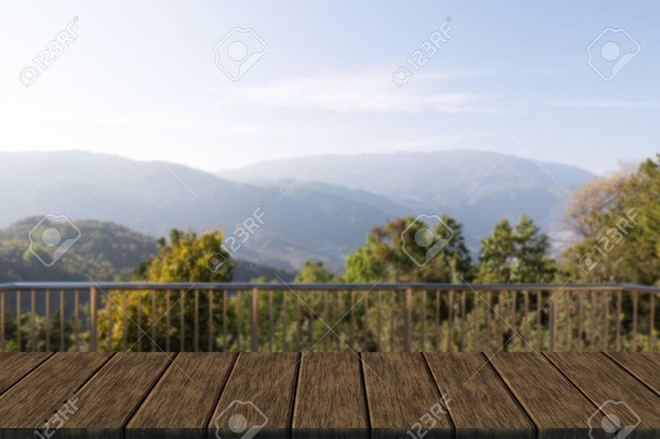 Metal Banister Of Balcony With Mountain View Blur Background