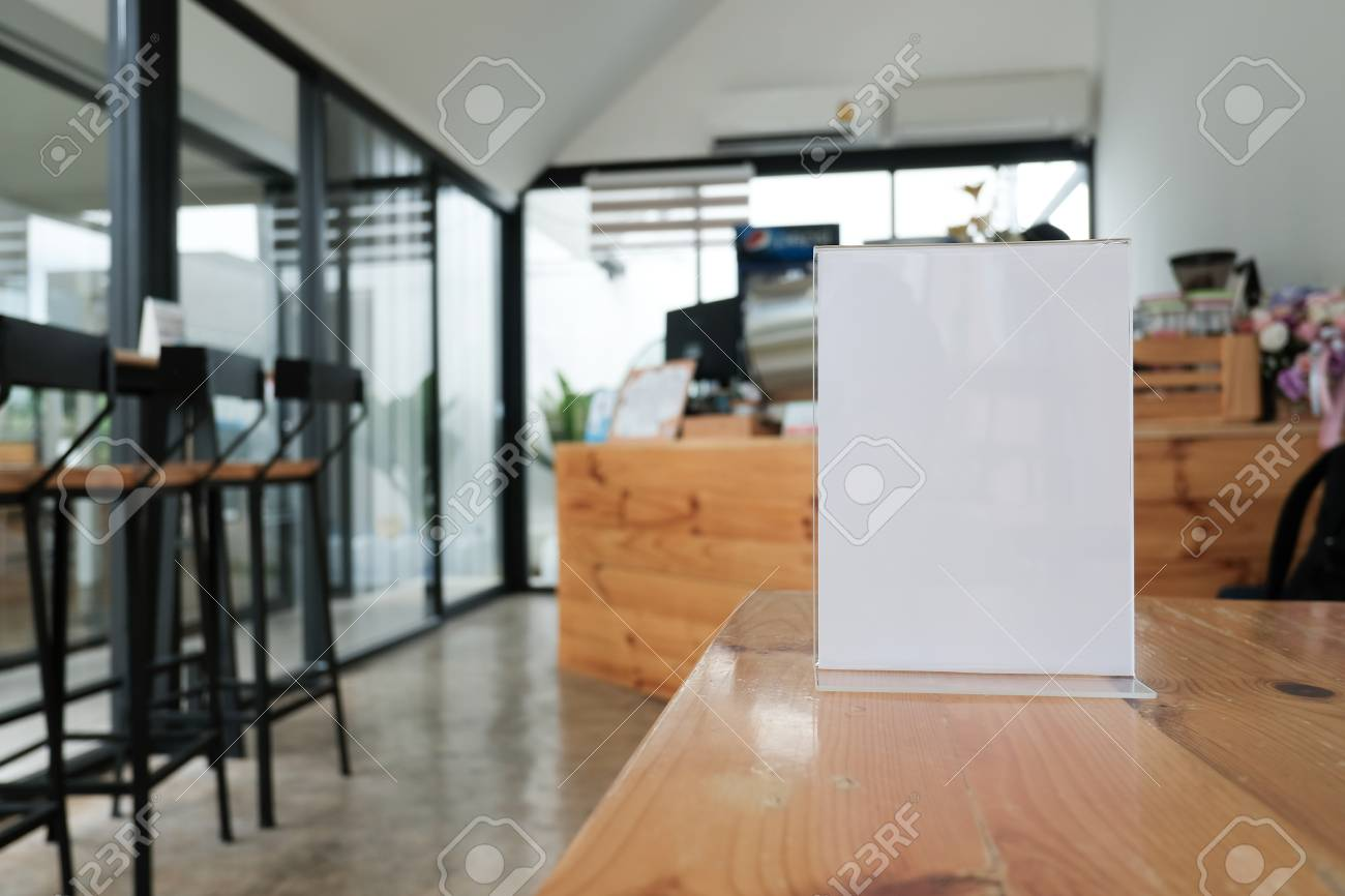 White Label In Cafe Display Stand For Acrylic Tent Card In Coffee Stock Photo Picture And Royalty Free Image Image 104147261