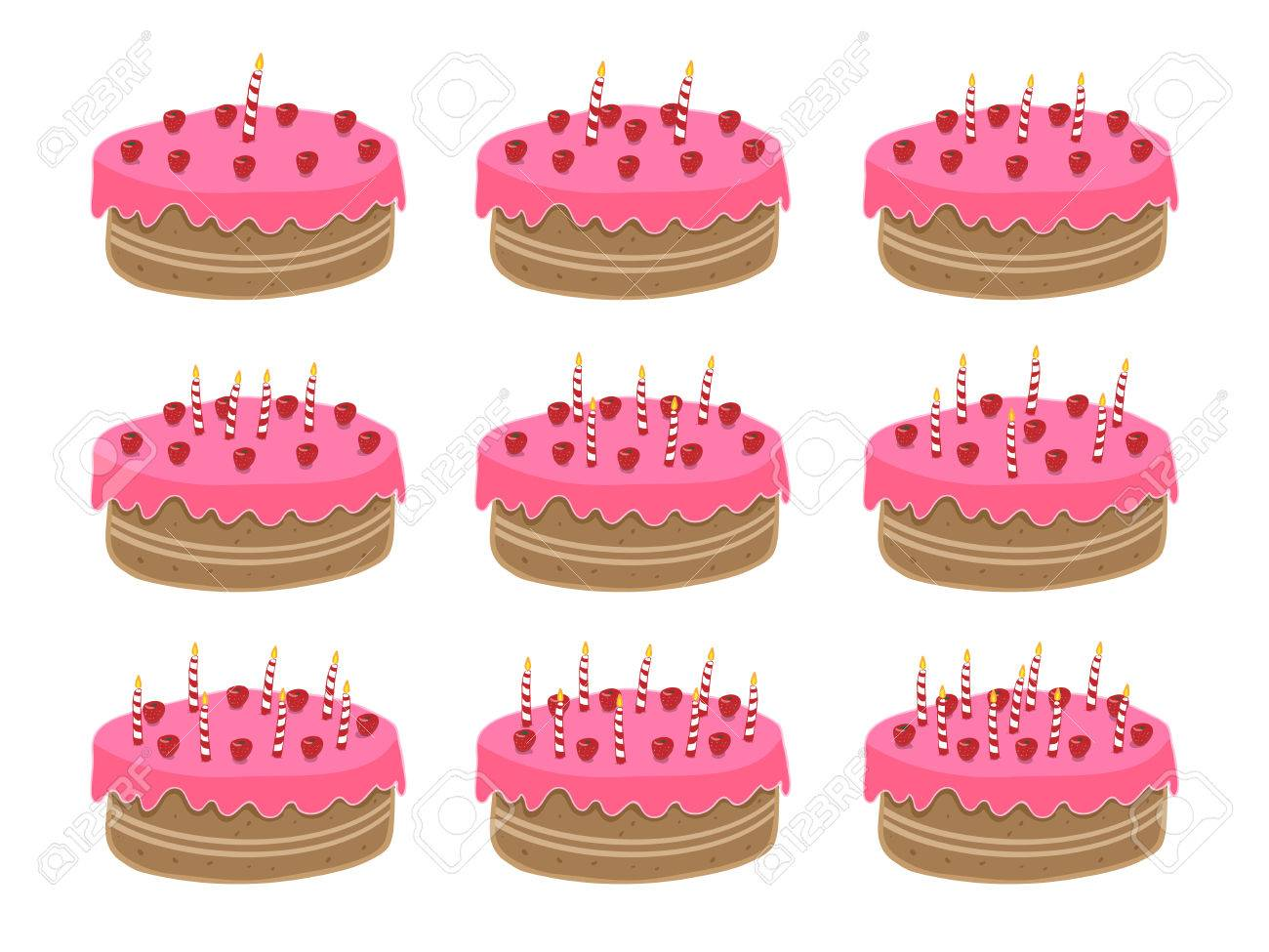 Birthday cake. One year old to nine years old, but very easy to add more candles to reach any age! Stock Vector - 3938821